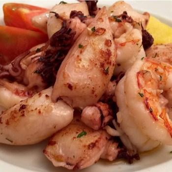 Sautéed baby squid and shrimp